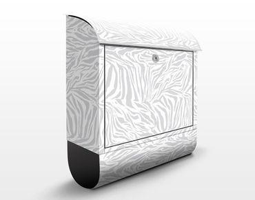 Briefkasten mit Zeitungsfach - Zebra Design Hellgrau - Streifenmuster