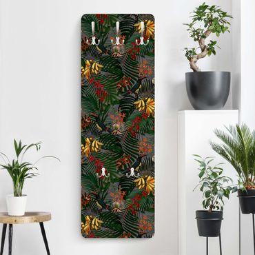 Garderobe - Tropische Farne mit Tucan Grün