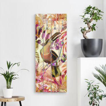 Wandgarderobe Holz - Bunte Collage - Tukan - Haken chrom Hochformat