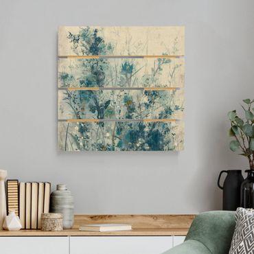 Holzbild - Blaue Frühlingswiese I - Quadrat 1:1