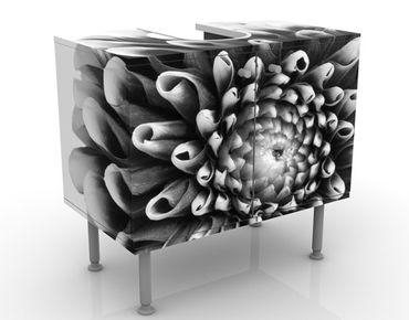 Waschbeckenunterschrank - Aster II - Blumen Badschrank Schwarz Grau