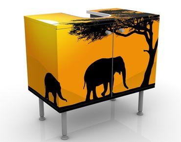 Waschbeckenunterschrank - African Elefant Walk - Badschrank Orange Gelb Schwarz