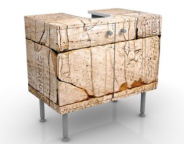 Waschbeckenunterschrank - Egypt Relief - Steinoptik Badschrank Beige