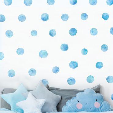 Wandtattoo - Punkte Aquarell Set Blau
