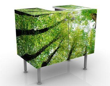 Waschbeckenunterschrank - Bäume des Lebens - Badschrank Grün