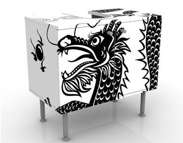 Waschbeckenunterschrank - Asiatischer Drache - Badschrank Weiß Schwarz