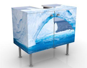 Waschbeckenunterschrank - Antarktischer Eisberg - Badschrank Weiß Blau