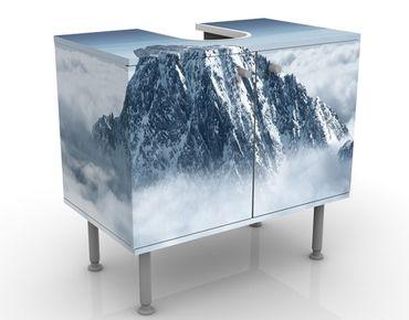 Waschbeckenunterschrank - Die Alpen über den Wolken - Badschrank Weiß