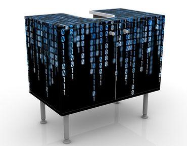 Waschbeckenunterschrank - Binärischer Code - Badschrank Schwarz