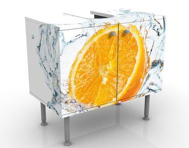Waschbeckenunterschrank - Frische Orange - Badschrank Weiß Orange