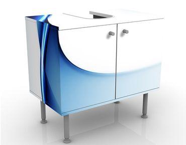 Waschbeckenunterschrank - Blaue Wandlung - Badschrank Weiß Blau