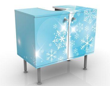 Waschbeckenunterschrank - Eisglitzern - Badschrank Blau