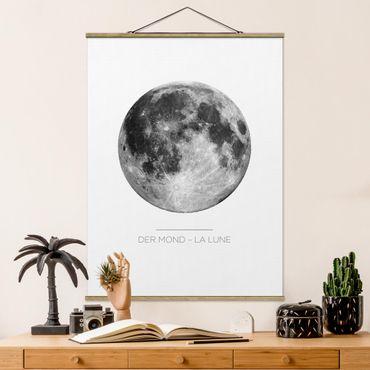 Stoffbild mit Posterleisten - Der Mond - La Lune - Hochformat 4:3