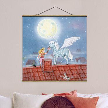 Stoffbild mit Posterleisten - Maries Zauberpony - Quadrat 1:1