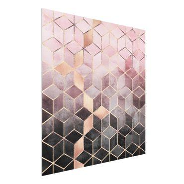 Forex Fine Art Print - Rosa Grau goldene Geometrie - Quadrat 1:1