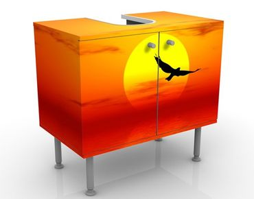 Waschbeckenunterschrank - Fabulous Sunset No.2 - Badschrank Orange Rot