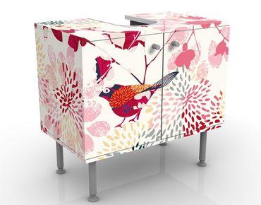Waschbeckenunterschrank - Fancy Birds - Blumen Badschrank Weiß Rot