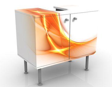 Waschbeckenunterschrank - Feuerring - Badschrank Weiß Orange