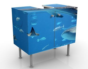 Waschbeckenunterschrank - Fish in the Sea - Badschrank Blau