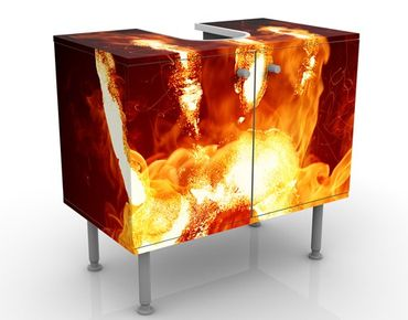 Waschbeckenunterschrank - Flammende Identität - Badschrank Orange