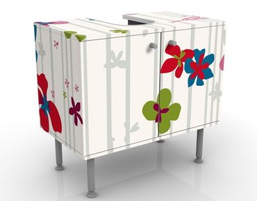 Waschbeckenunterschrank - Floral Pattern - Blumen Badschrank Bunt