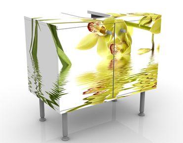 Waschbeckenunterschrank - Elegant Orchid Waters - Blumen Badschrank Weiß