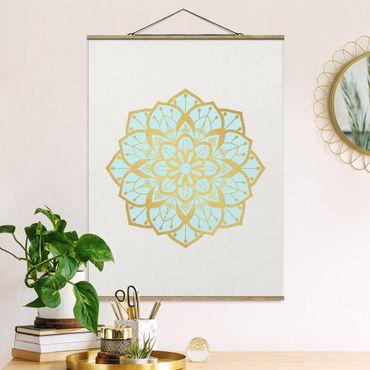Stoffbild mit Posterleisten - Mandala Illustration Blüte hellblau gold - Hochformat 4:3