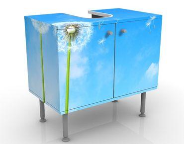 Waschbeckenunterschrank - Flying Seeds - Blumen Badschrank Blau