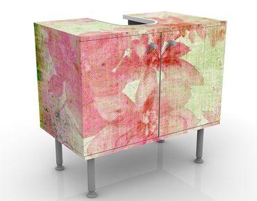Waschbeckenunterschrank - Forgotten Beauty II - Blumen Badschrank Rosa