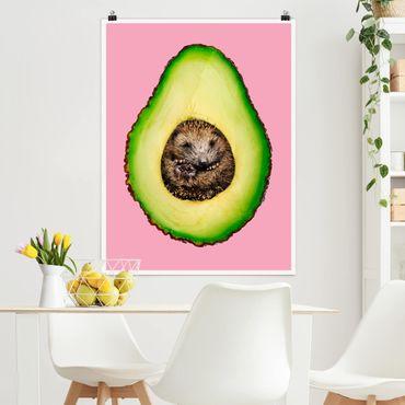 Poster - Jonas Loose - Avocado mit Igel - Hochformat 3:4