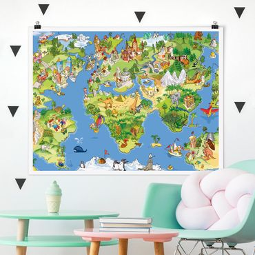 Poster - Great and funny Worldmap - Querformat 3:4