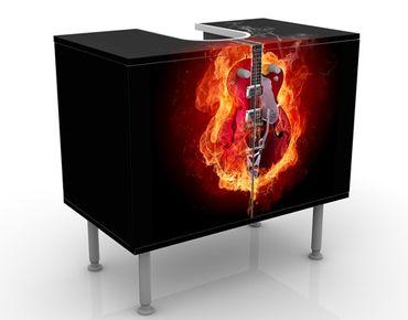Waschbeckenunterschrank - Gitarre in Flammen - Badschrank Orange Rot Schwarz