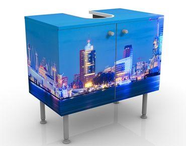 Waschbeckenunterschrank - Hamburger Hafen - Badschrank Blau