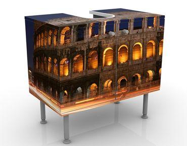 Waschbeckenunterschrank - Colosseum in Rom bei Nacht - Badschrank Orange