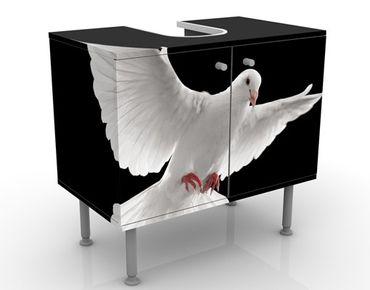 Waschbeckenunterschrank - Friedenstaube - Badschrank Weiß Schwarz