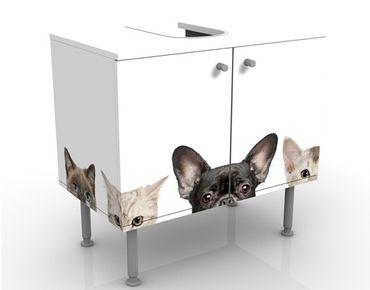 Waschbeckenunterschrank - Katzen mit Hundeblick - Badschrank Weiß