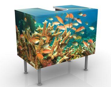 Waschbeckenunterschrank - Korallenriff - Badschrank Bunt