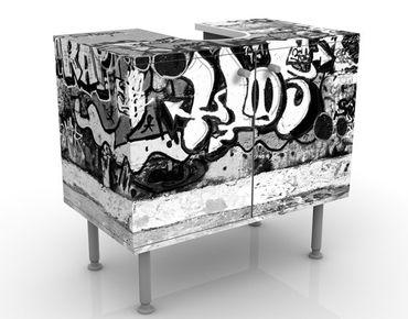 Waschbeckenunterschrank - Graffiti Art - Badschrank Schwarz