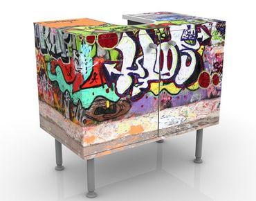 Waschbeckenunterschrank - Graffiti - Badschrank Bunt