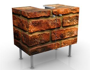 Waschbeckenunterschrank - Bricks - Steinoptik Badschrank Orange