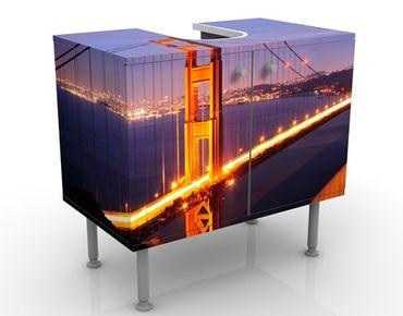 Waschbeckenunterschrank - Golden Gate Bridge bei Nacht - Badschrank Orange Rosa