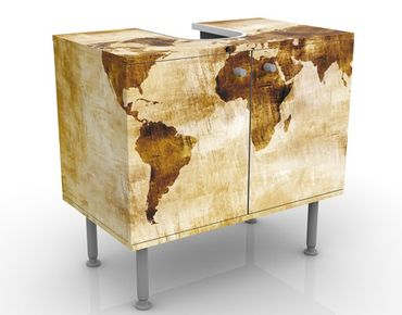 Waschbeckenunterschrank - No.CG75 Map of the world - Vintage Badschrank Beige