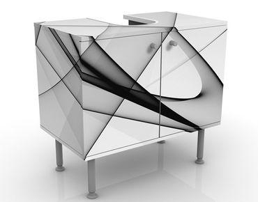 Waschbeckenunterschrank - Winter Shapes - Badschrank Weiß Schwarz