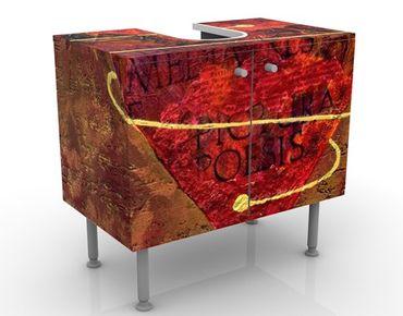 Waschbeckenunterschrank - I got your heart - Vintage Badschrank Rot