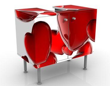 Waschbeckenunterschrank - Herzballons - Badschrank Weiß Rot