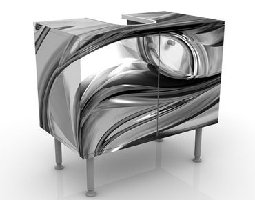 Waschbeckenunterschrank - Illusionary II - Badschrank Weiß Schwarz Grau