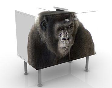 Waschbeckenunterschrank - Liegender Gorilla I - Badschrank Schwarz