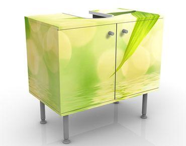 Waschbeckenunterschrank - Green Ambiance I - Blumen Badschrank Grün