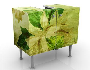 Waschbeckenunterschrank - Green Blossoms - Blumen Badschrank Grün