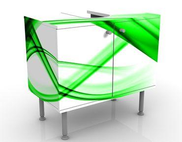 Waschbeckenunterschrank - Green Element - Badschrank Weiß Grün
